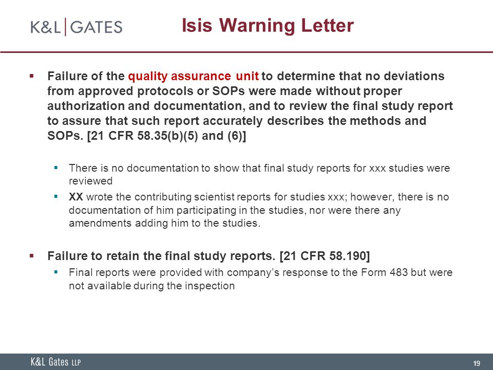 Isis Warning Letter