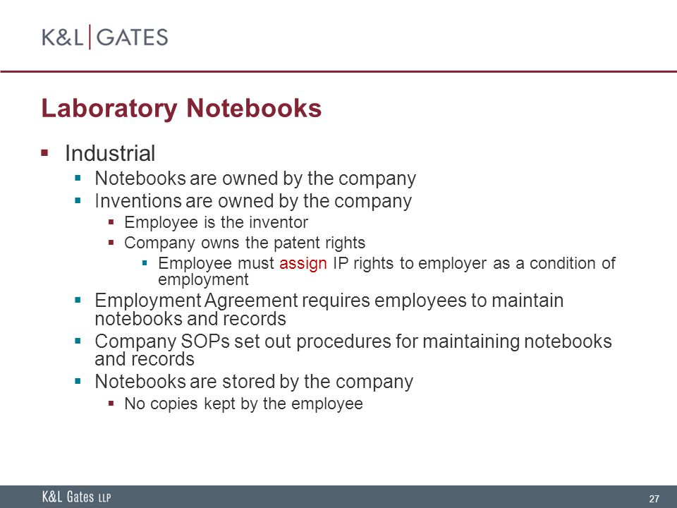 Laboratory Notebooks Industrial Notebooks are owned by the company