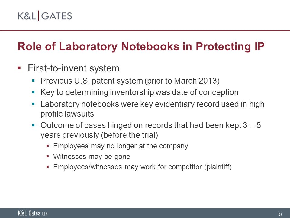 Role of Laboratory Notebooks in Protecting IP