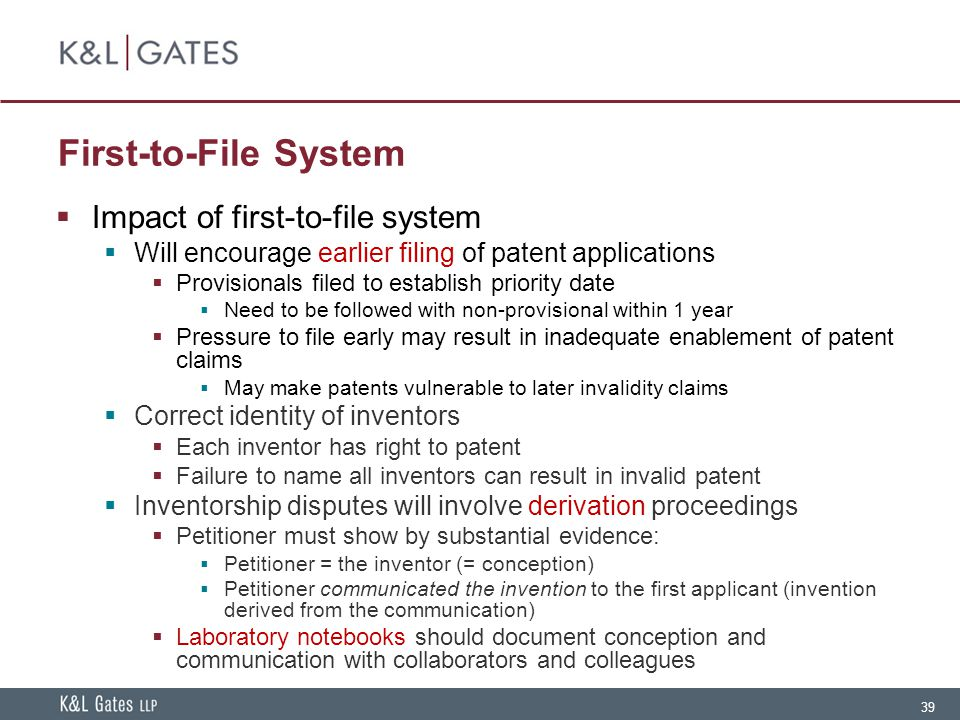 First-to-File System Impact of first-to-file system