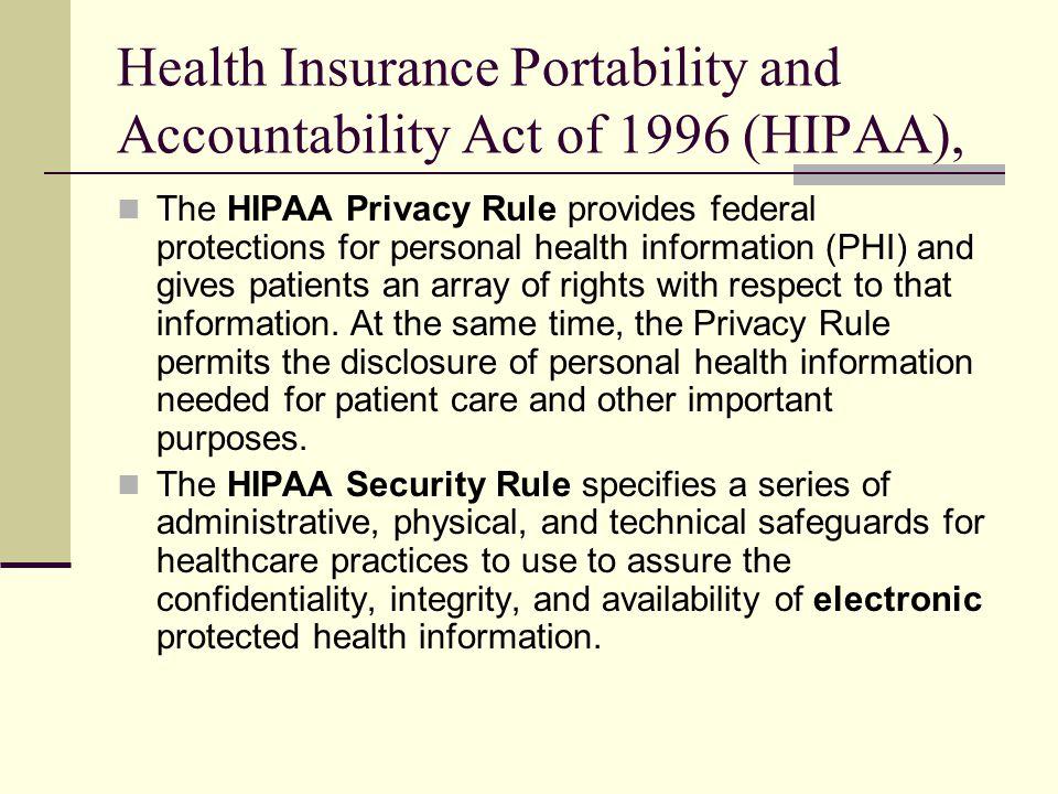 Health Insurance Portability and Accountability Act of 1996 (HIPAA),