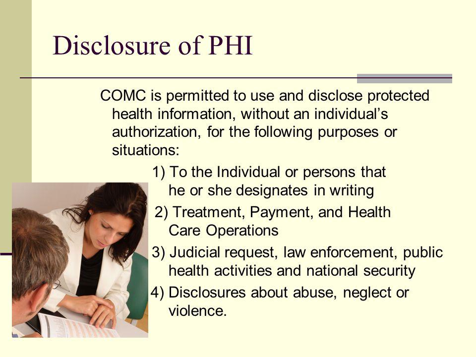 Disclosure of PHI