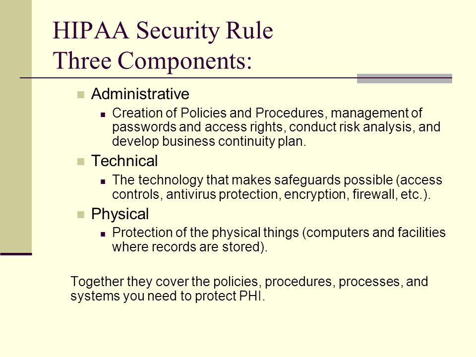 HIPAA Security Rule Three Components: