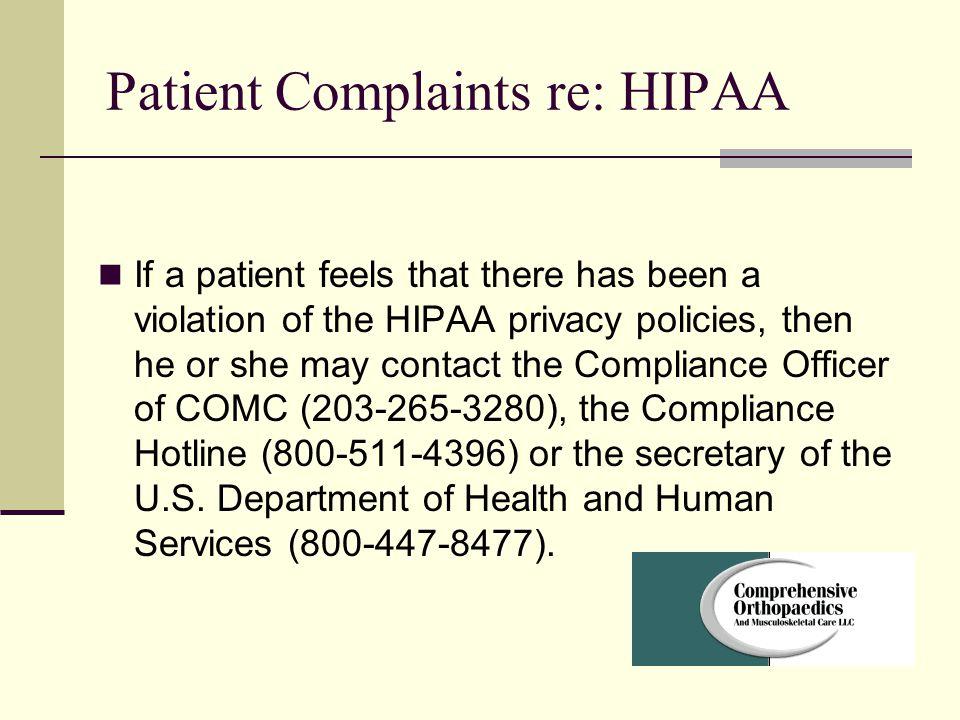 Patient Complaints re: HIPAA