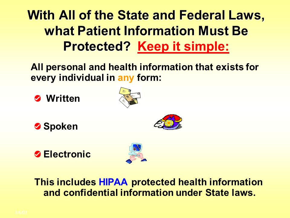 With All of the State and Federal Laws, what Patient Information Must Be Protected Keep it simple: