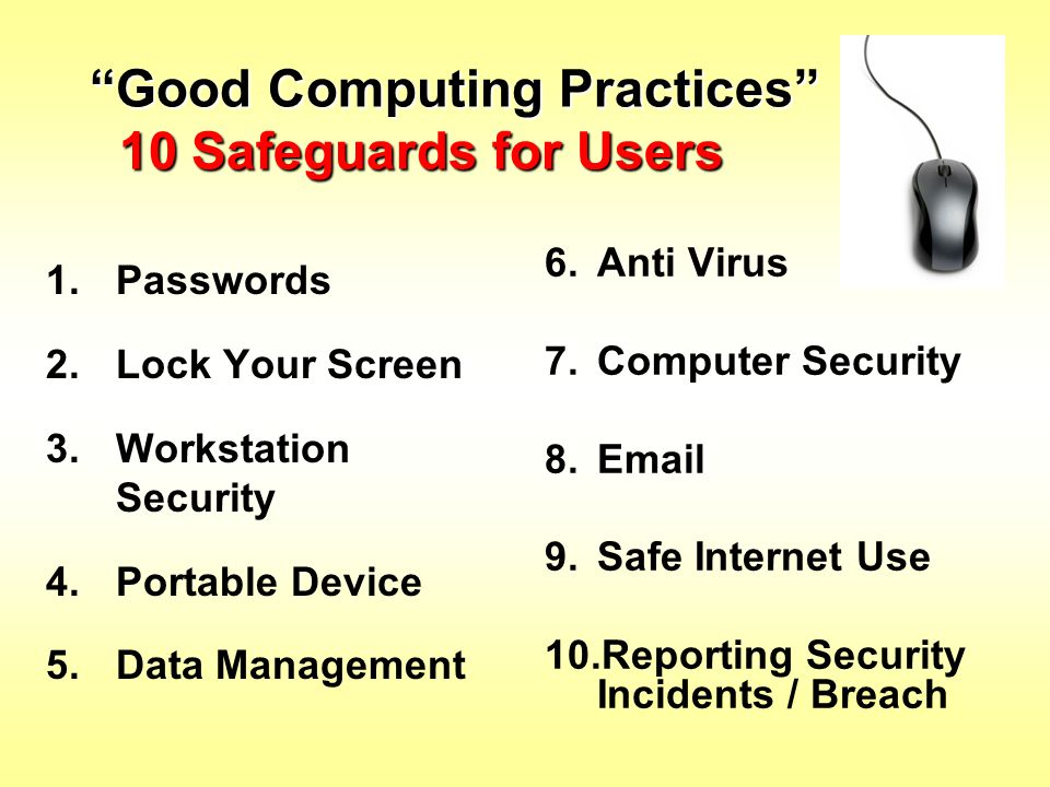 Good Computing Practices 10 Safeguards for Users
