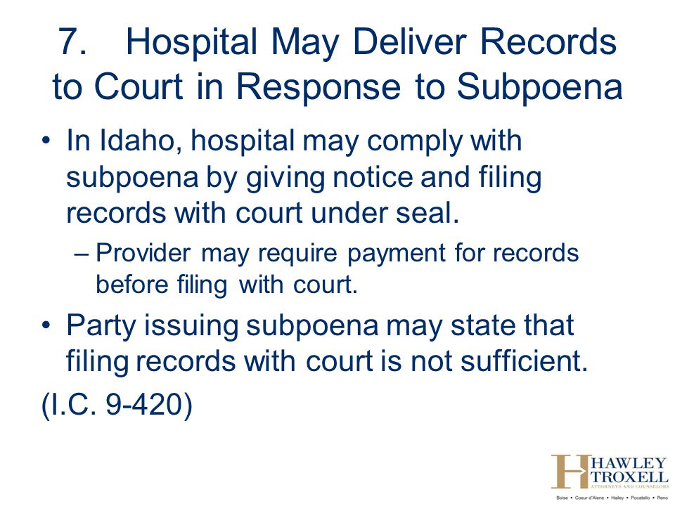 7. Hospital May Deliver Records to Court in Response to Subpoena