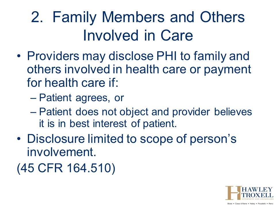 2. Family Members and Others Involved in Care