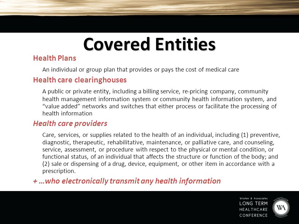 Covered Entities Health Plans
