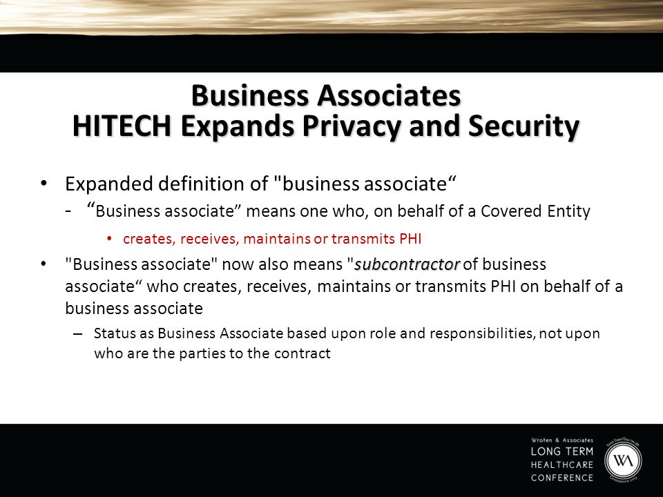 Business Associates HITECH Expands Privacy and Security