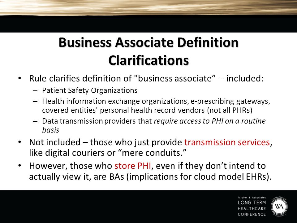 Business Associate Definition Clarifications