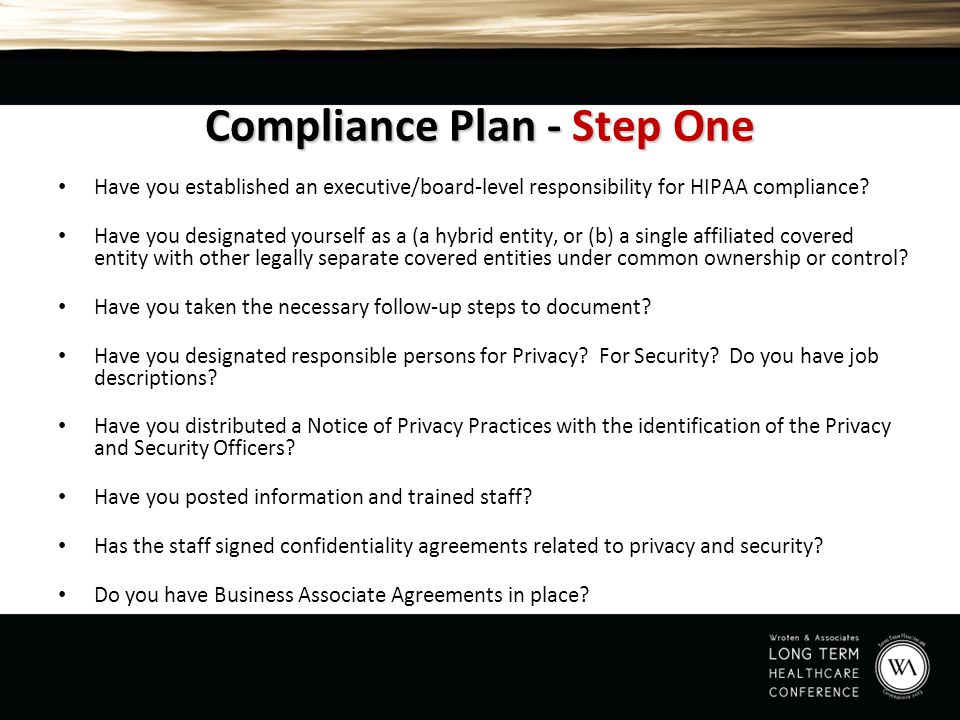 Compliance Plan - Step One