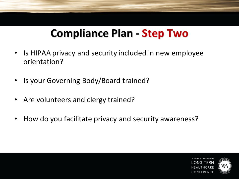 Compliance Plan - Step Two