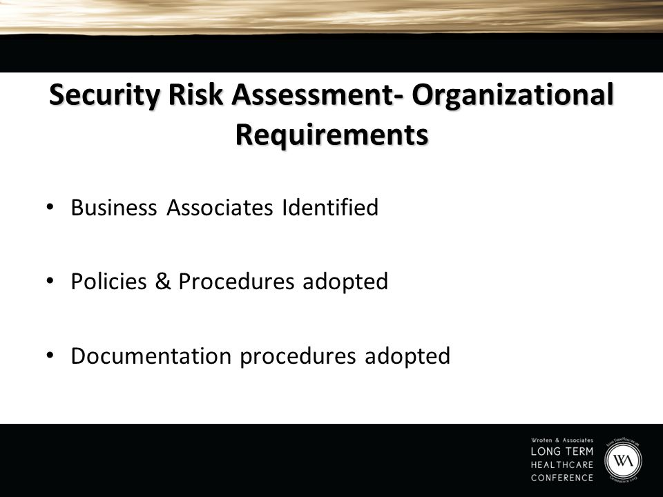 Security Risk Assessment- Organizational Requirements