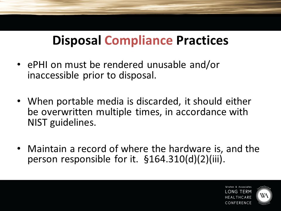 Disposal Compliance Practices