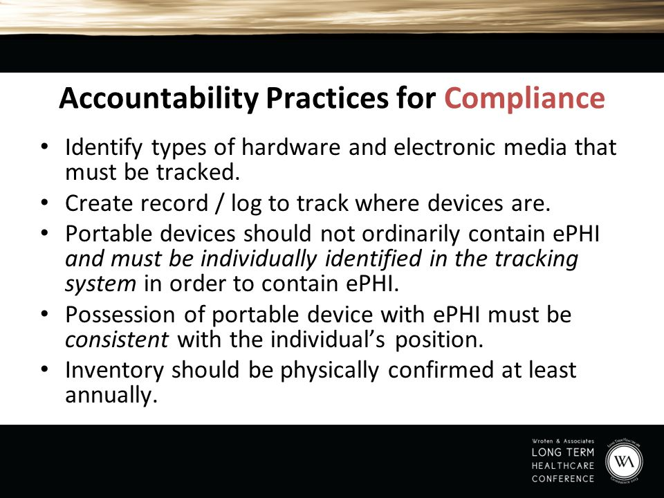 Accountability Practices for Compliance