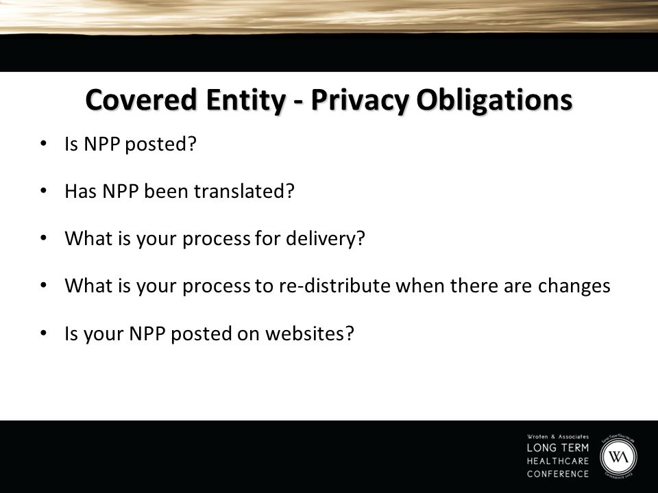 Covered Entity - Privacy Obligations