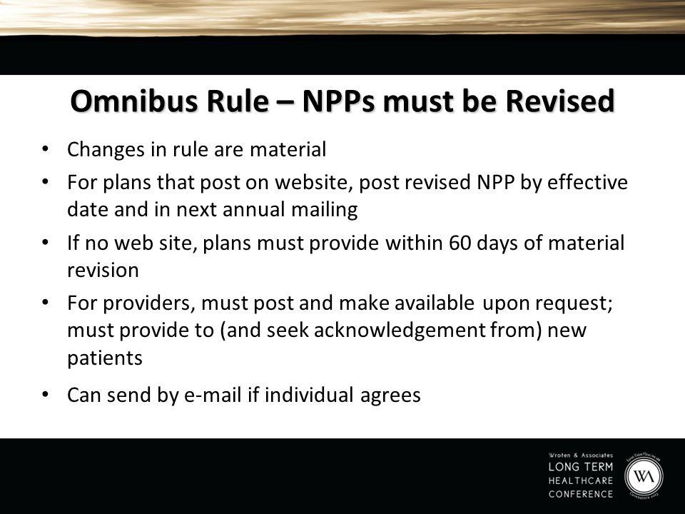 Omnibus Rule – NPPs must be Revised