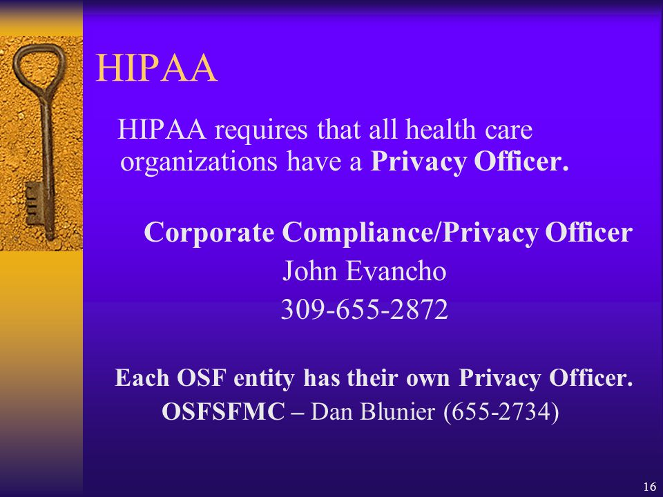 Corporate Compliance/Privacy Officer