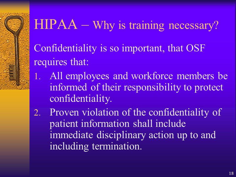 HIPAA – Why is training necessary