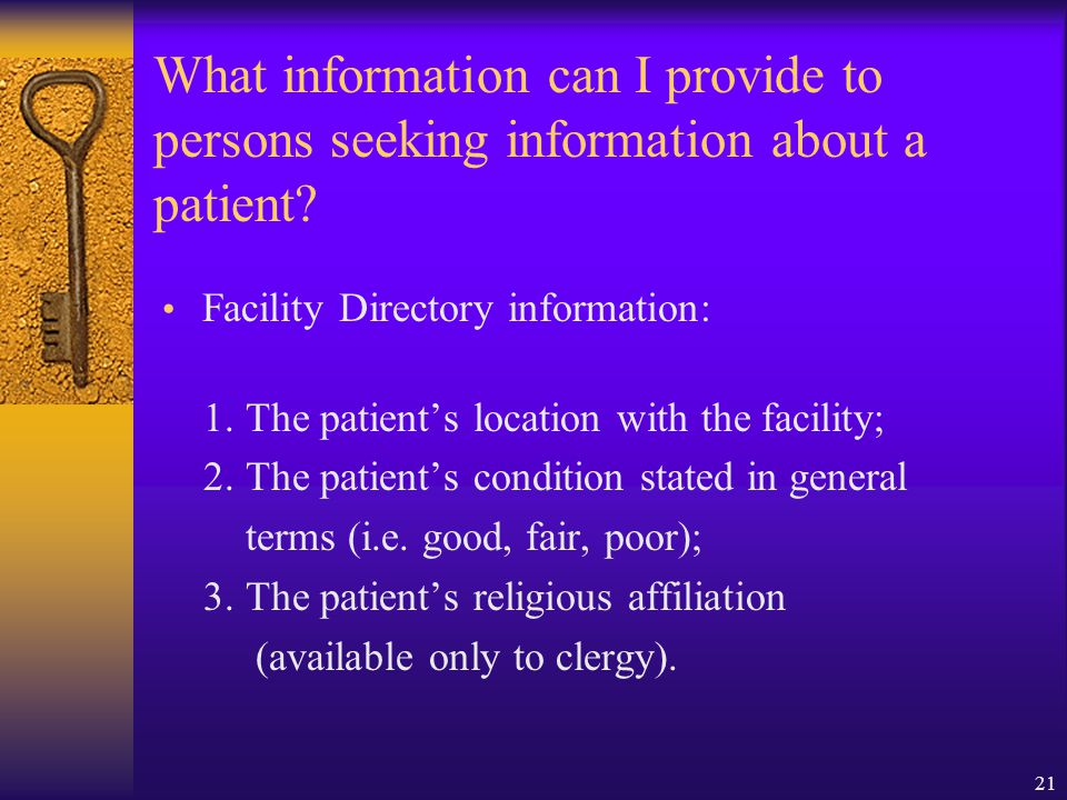 What information can I provide to persons seeking information about a patient