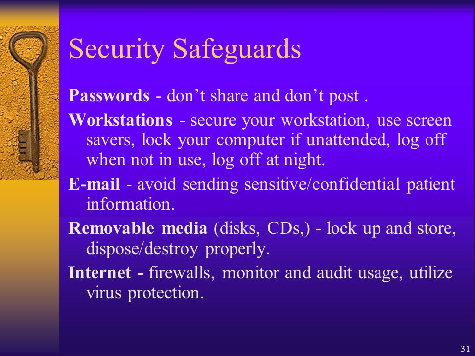 Security Safeguards Passwords - don't share and don't post .