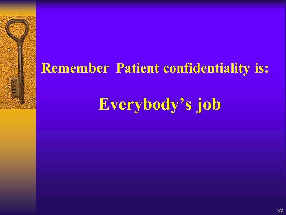 Remember Patient confidentiality is: