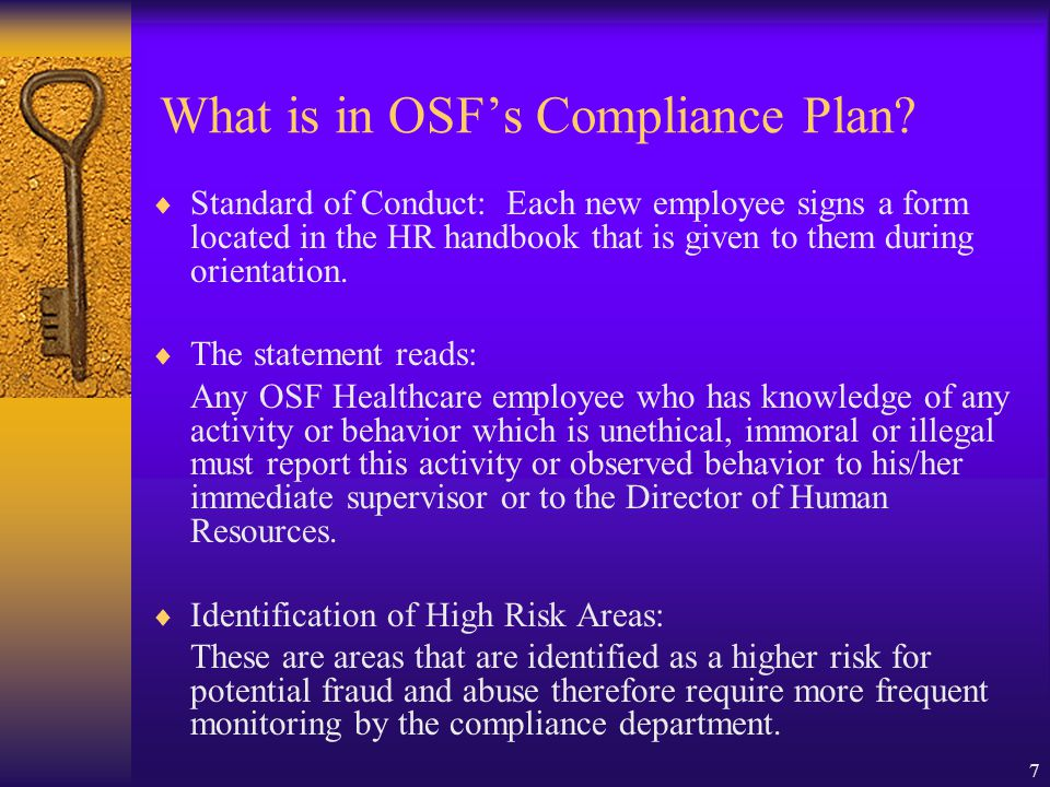 What is in OSF's Compliance Plan