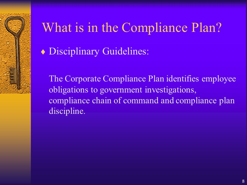 What is in the Compliance Plan