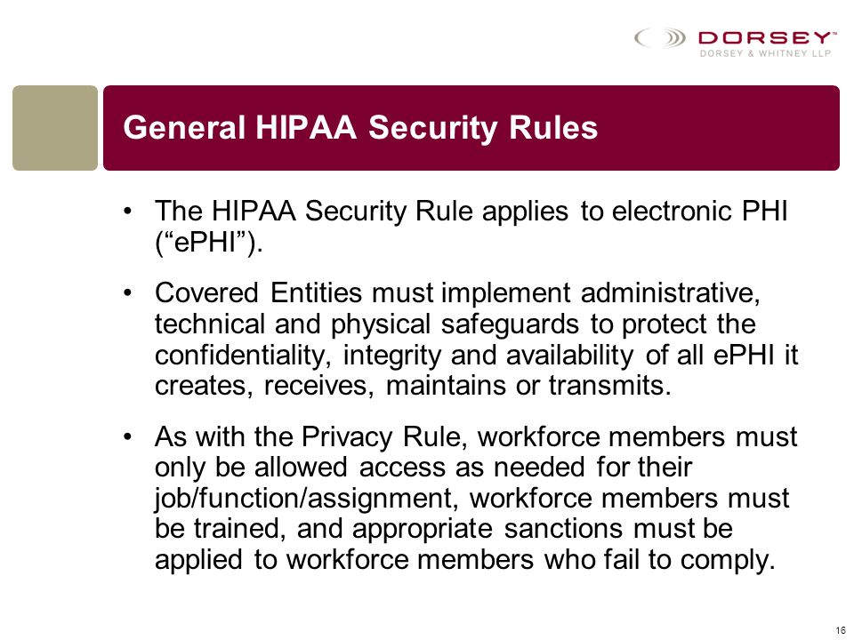 General HIPAA Security Rules