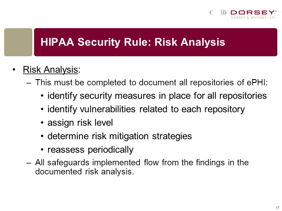 HIPAA Security Rule: Risk Analysis