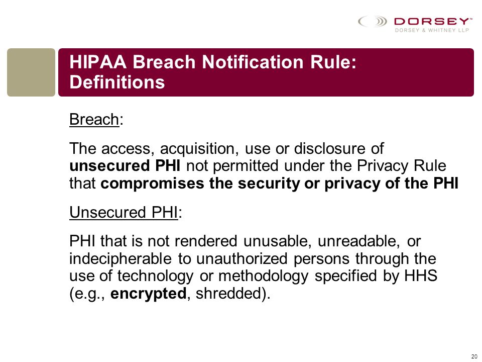 HIPAA Breach Notification Rule: Definitions