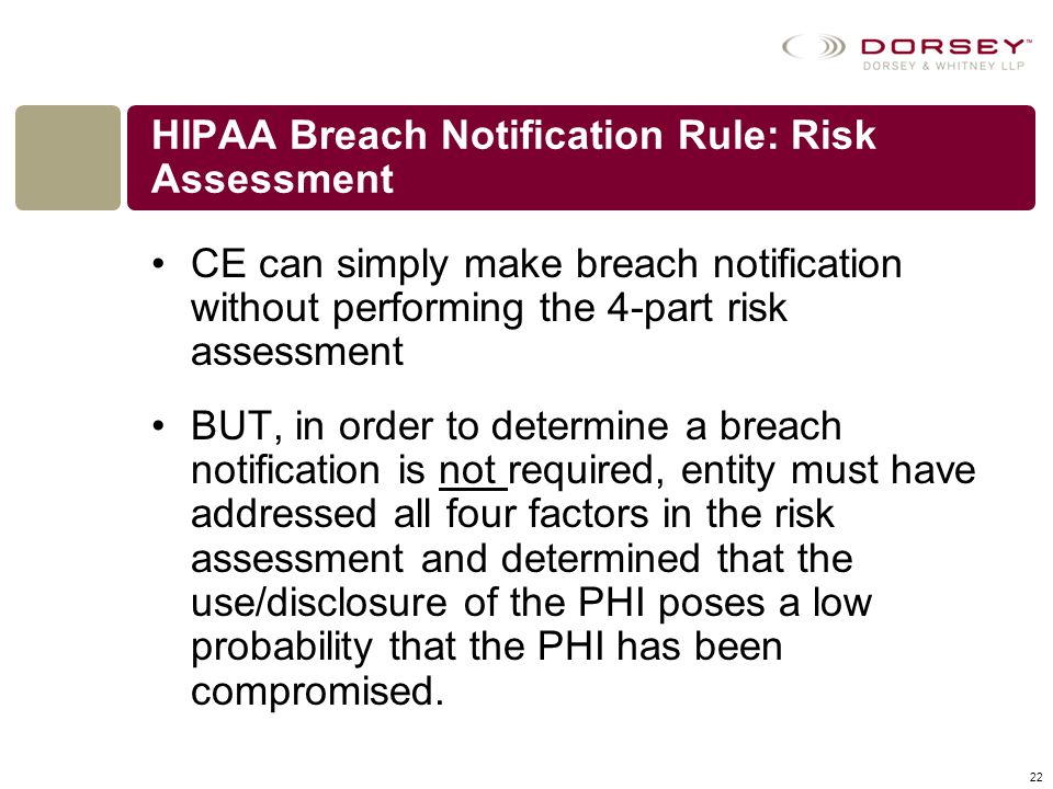 HIPAA Breach Notification Rule: Risk Assessment