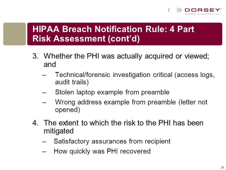 HIPAA Breach Notification Rule: 4 Part Risk Assessment (cont'd)