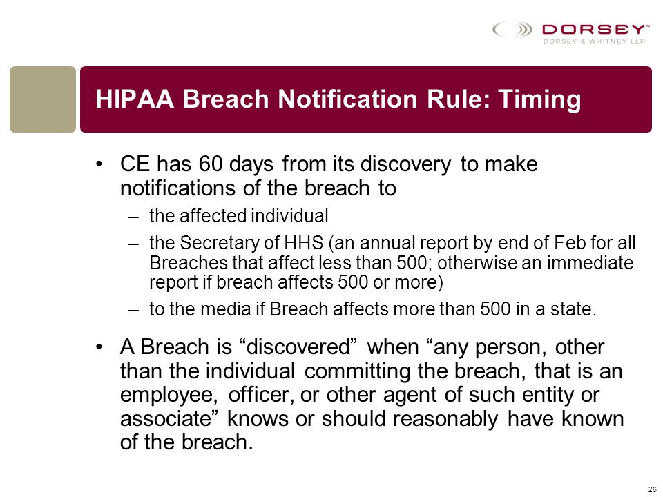 HIPAA Breach Notification Rule: Timing