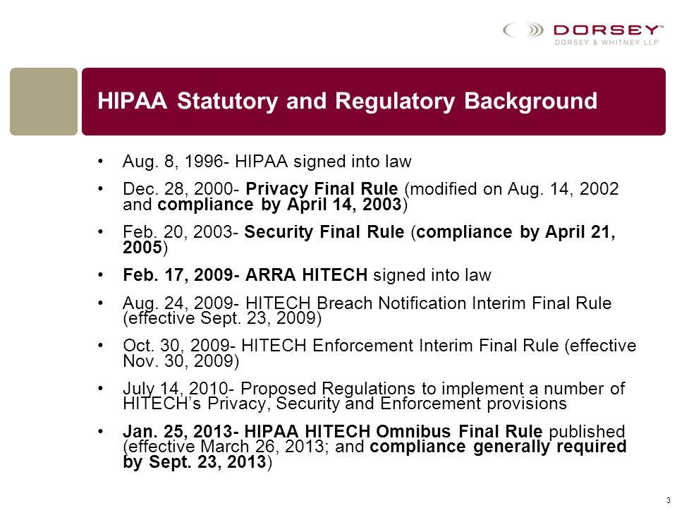 HIPAA Statutory and Regulatory Background