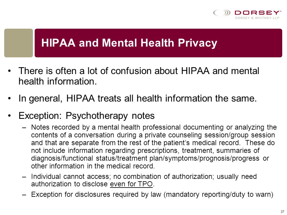 HIPAA and Mental Health Privacy