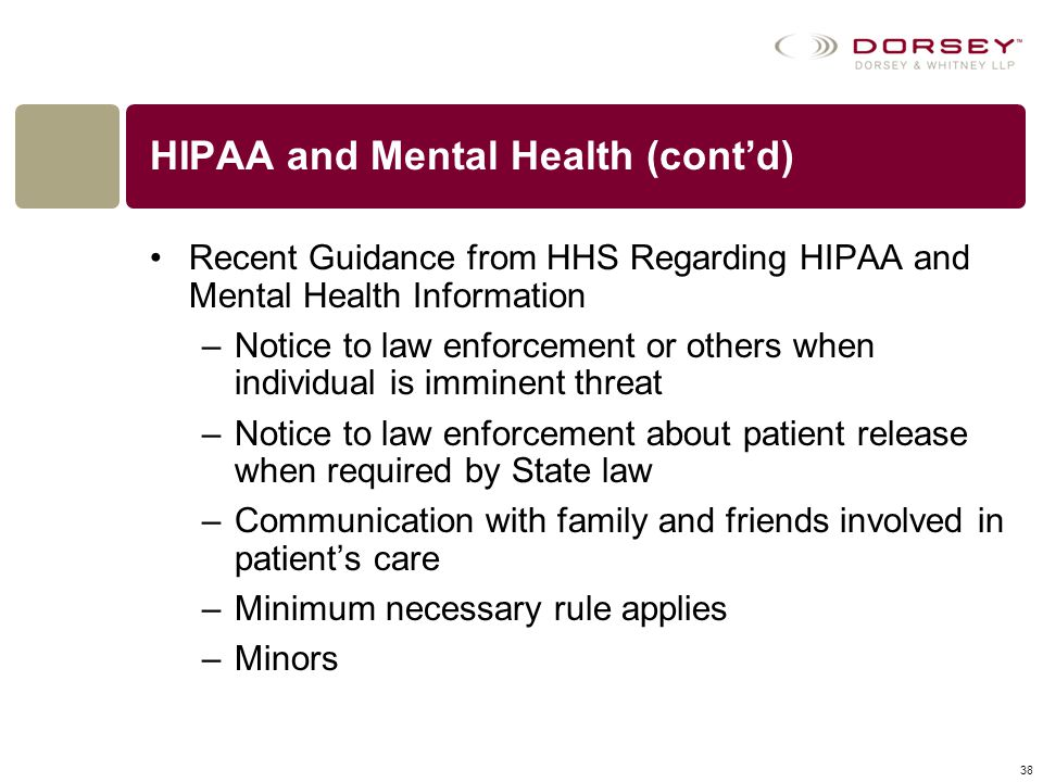 HIPAA and Mental Health (cont'd)