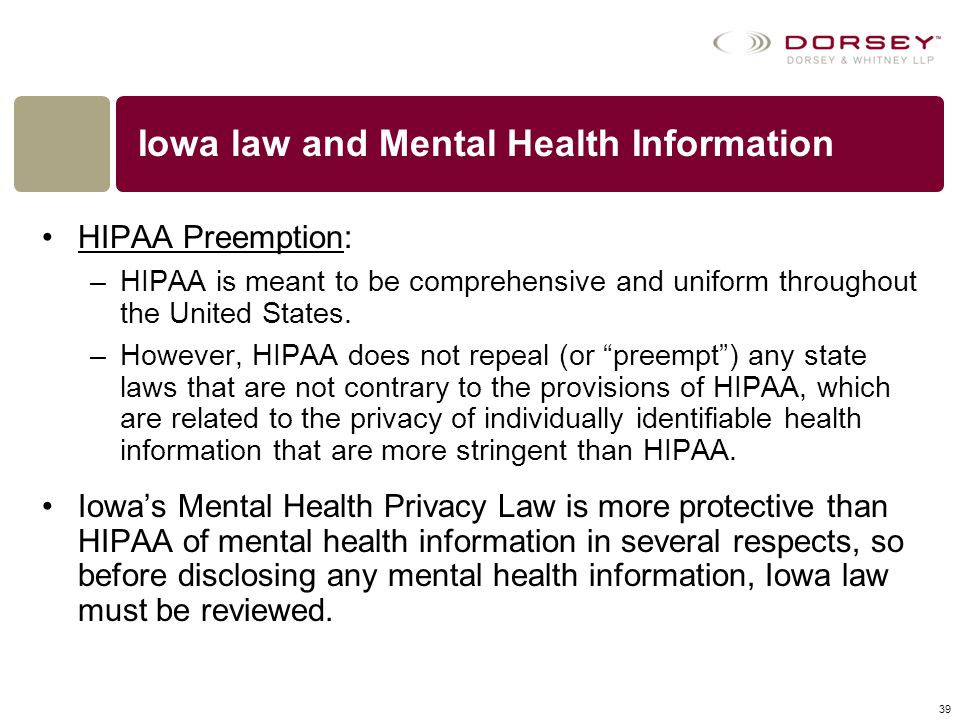 Iowa law and Mental Health Information