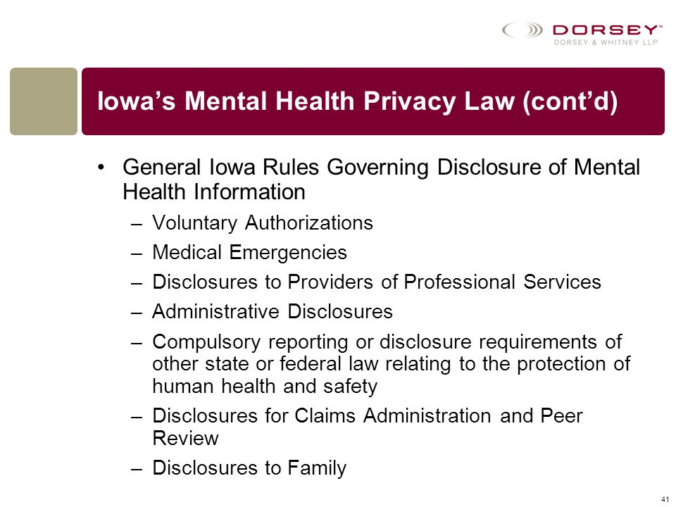 Iowa's Mental Health Privacy Law (cont'd)