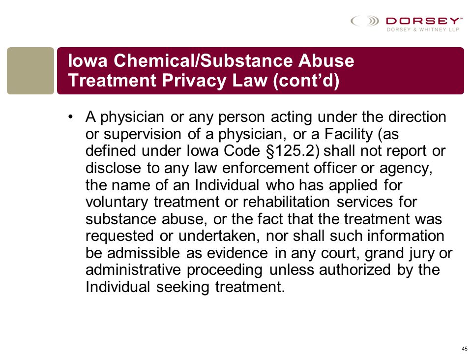 Iowa Chemical/Substance Abuse Treatment Privacy Law (cont'd)