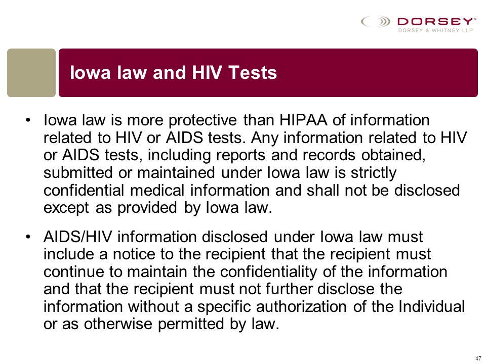 Iowa law and HIV Tests