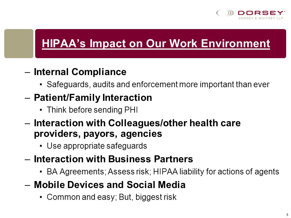 HIPAA's Impact on Our Work Environment