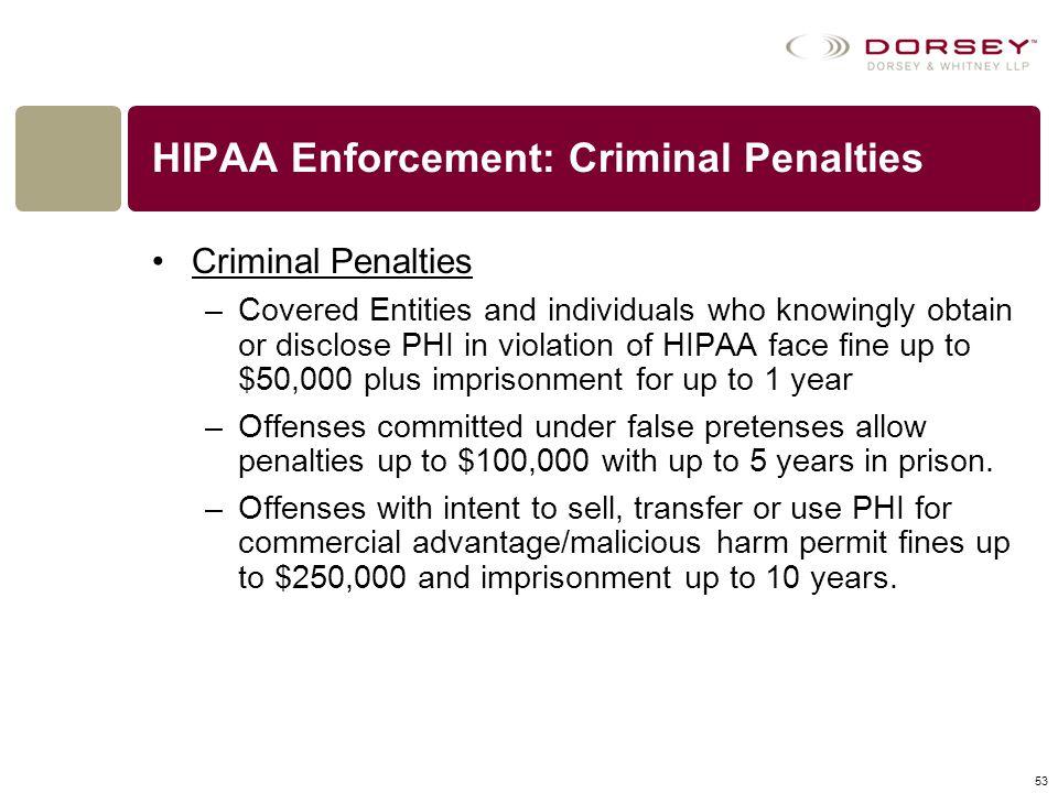 HIPAA Enforcement: Criminal Penalties