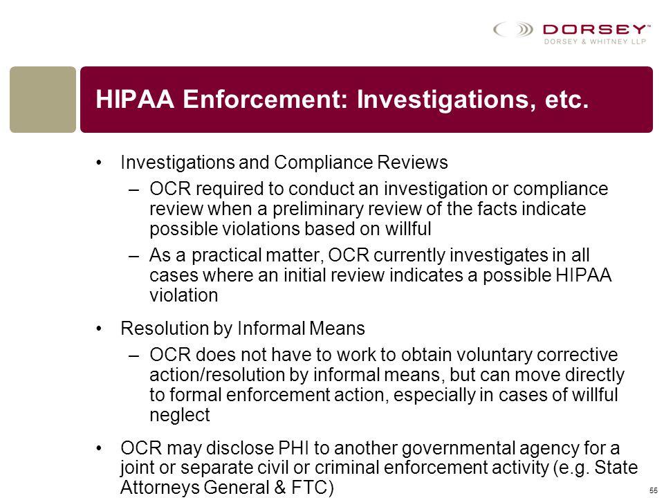 HIPAA Enforcement: Investigations, etc.