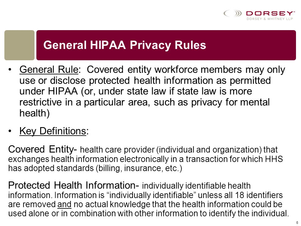 General HIPAA Privacy Rules