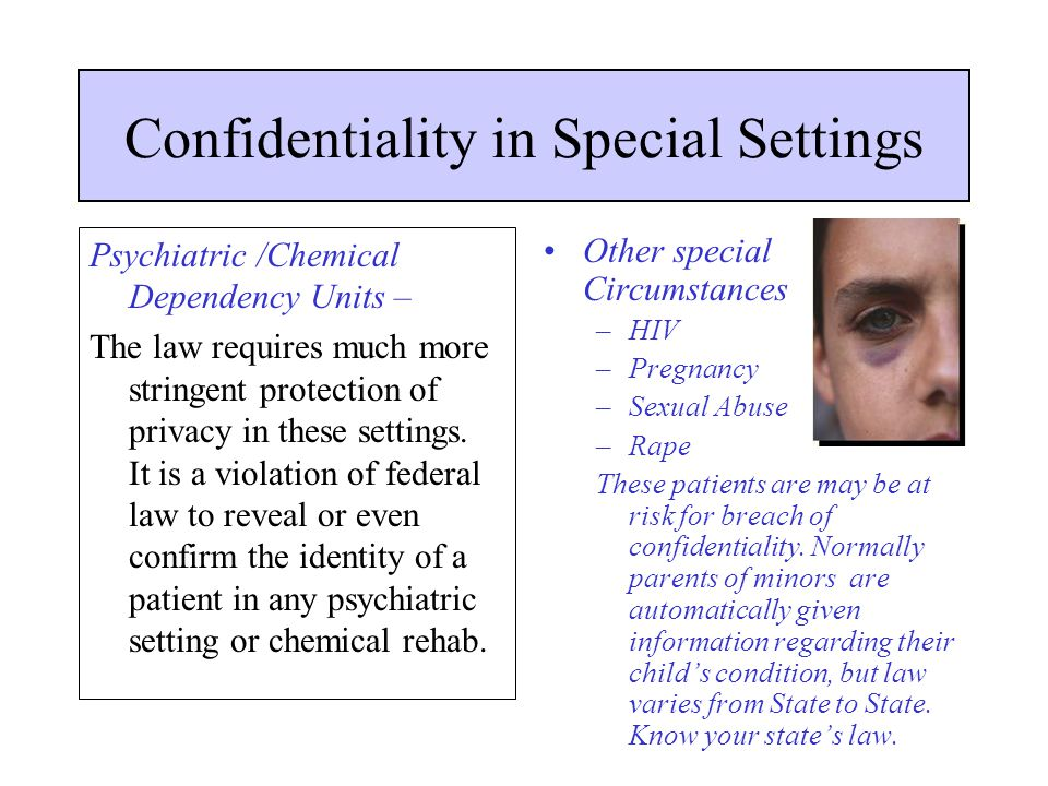 Confidentiality in Special Settings