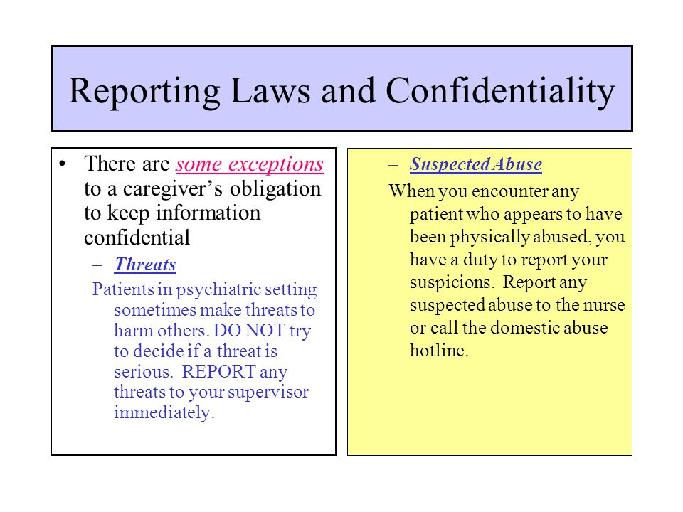 Reporting Laws and Confidentiality