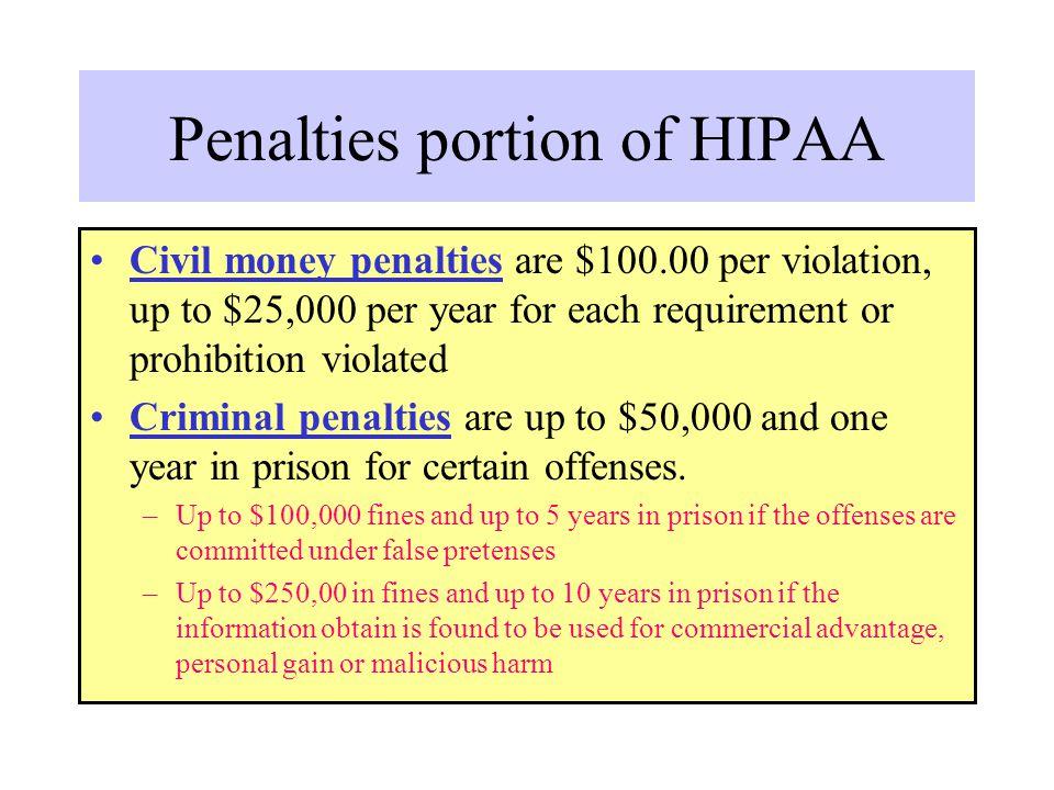 Penalties portion of HIPAA