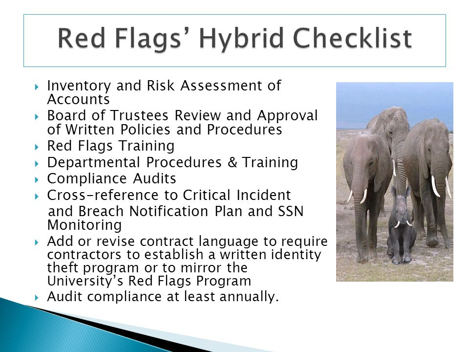 Red Flags' Hybrid Checklist
